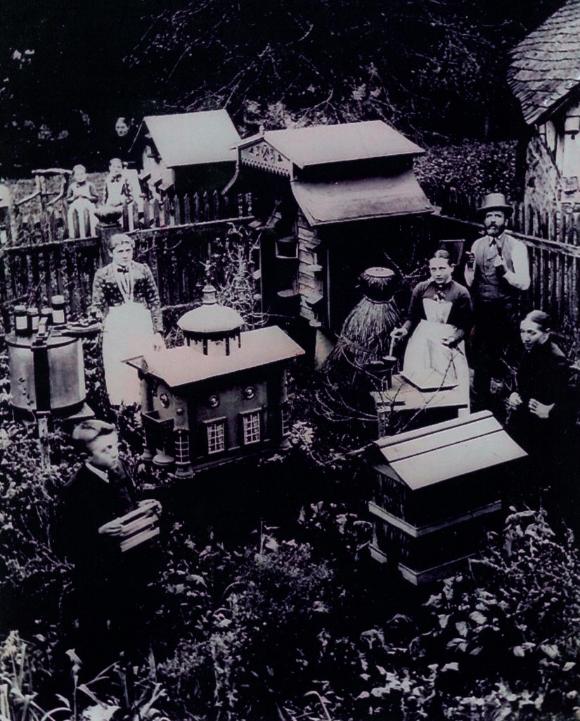 Klein-Imkerei aus Rheinland-Pfalz, nahe Kirn, 1897Die 2. Person von rechts ist der Urgroßvater des heutigen Vorsitzenden Manfred Bender, die 3. Person ist die Großmutter,  abgebildet mit einer Mittelwand-Gußform. Auf dem Bild sind ferner Beuten, Schleuder und Honiggläser zu sehen.